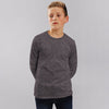 Boys Cotton Sensation Charcoal Marl Long Sleeve Tee Shirt