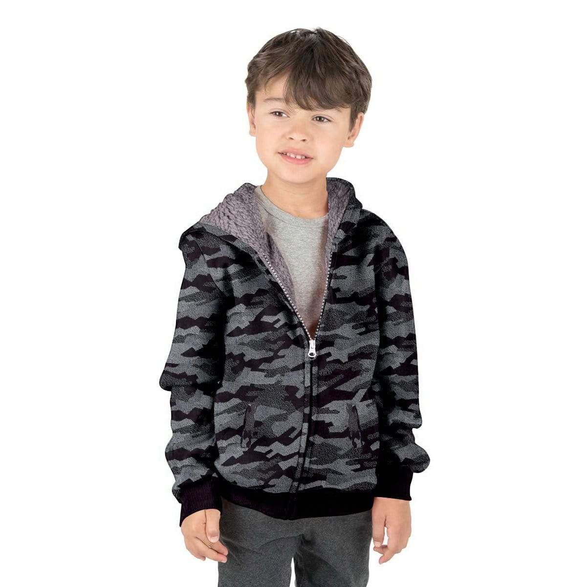 Stone Harbor Boy's Zipper Hoodie Black / 2-3 Years Boy's Stone Harbor Camo DARK EFFECT Fur Lined Zipper HOODIE