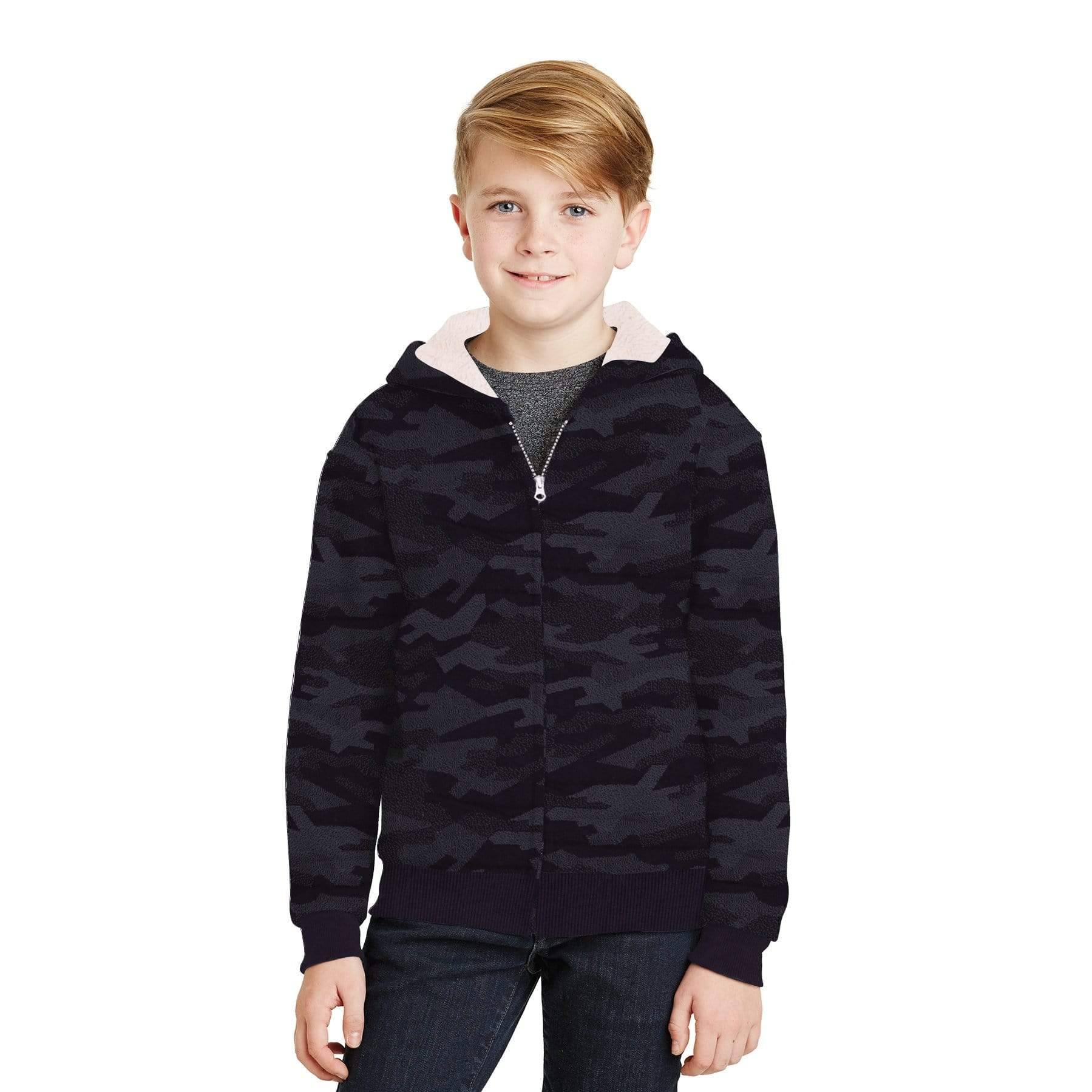 Stone Harbor Boy's Zipper Hoodie Black / 2-3 Years Boy's Stone Harbor Camo FALL SHADE Fur Lined Zipper HOODIE