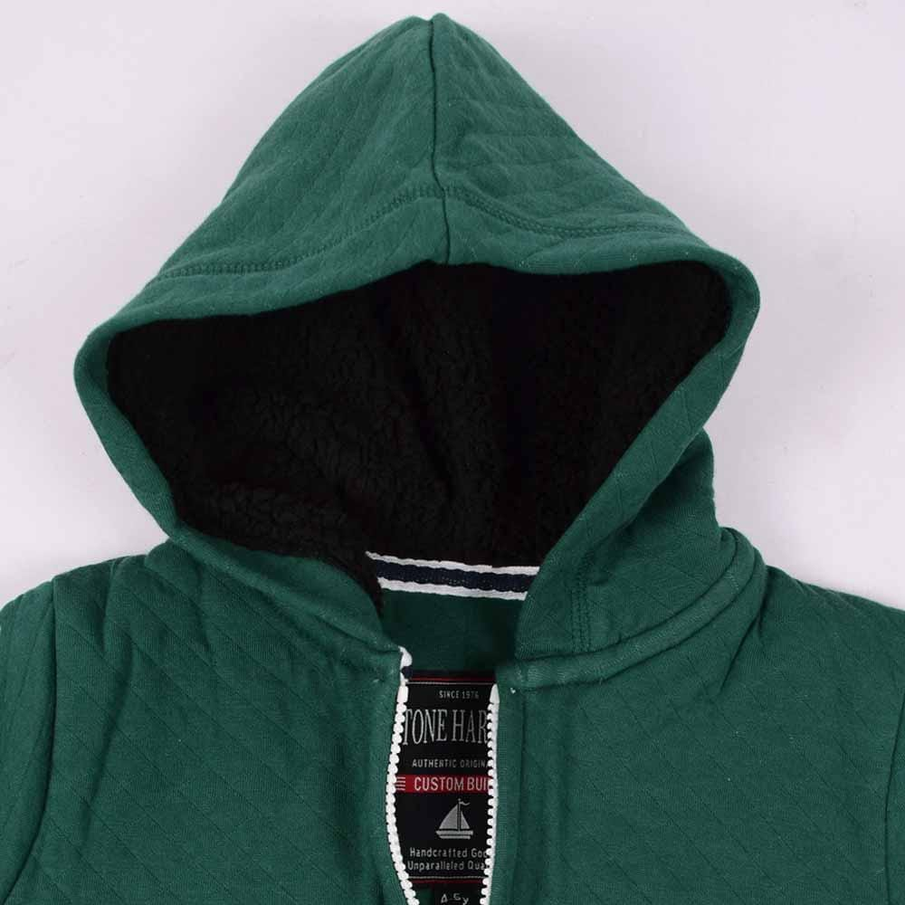 Stone Harbor Boy's Zipper Hoodie Bottle Green / 2-3 Years Boy's Stone Harbor Bottle Green Fur Lined Zipper HOODIE