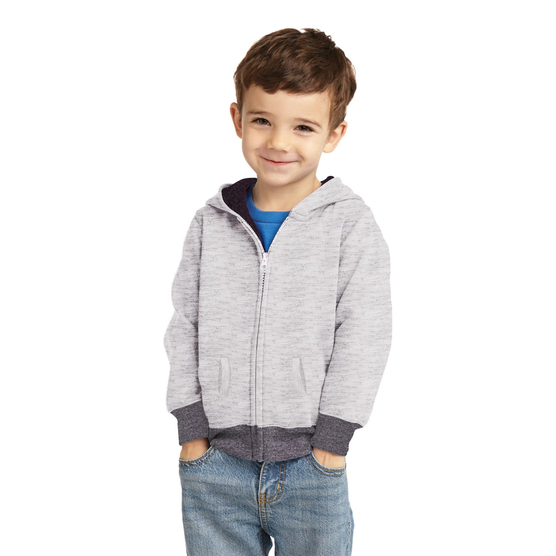 Stone Harbor Boy's Zipper Hoodie Silver Marl / 2-3 Years Boy's Stone Harbor Marlic Fur Lined Zipper HOODIE