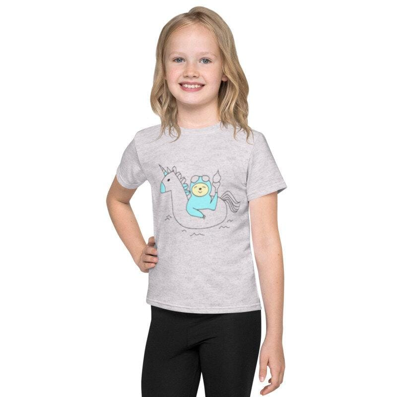 Stone Harbor Girl`s T-Shirt Ash / 2-3 Years GIRLS STONE HARBOR UNICORN CREW NECK TEE SHIRT