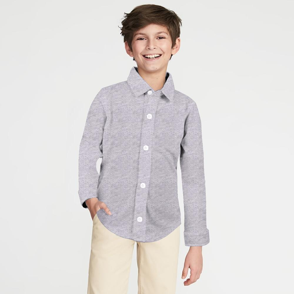 Stone Harbor Kid's Casual Shirt Grey / 2-3 Years Stone Harbor Slim Fit Grey Long Sleeve Button Shirt