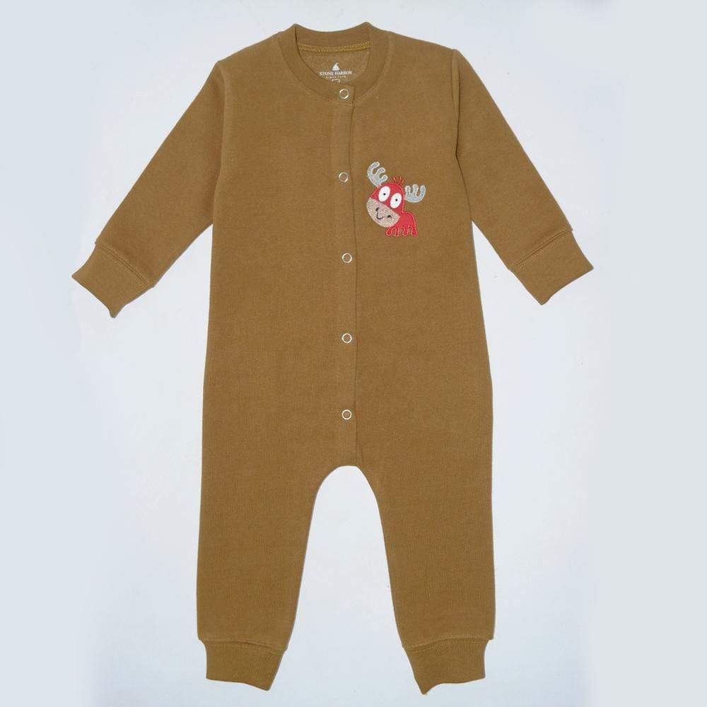 Stone Harbor Kid's Romper Brown / 0-3 Months Kid's Stone Harbor UNISEX Moose Fleece Romper