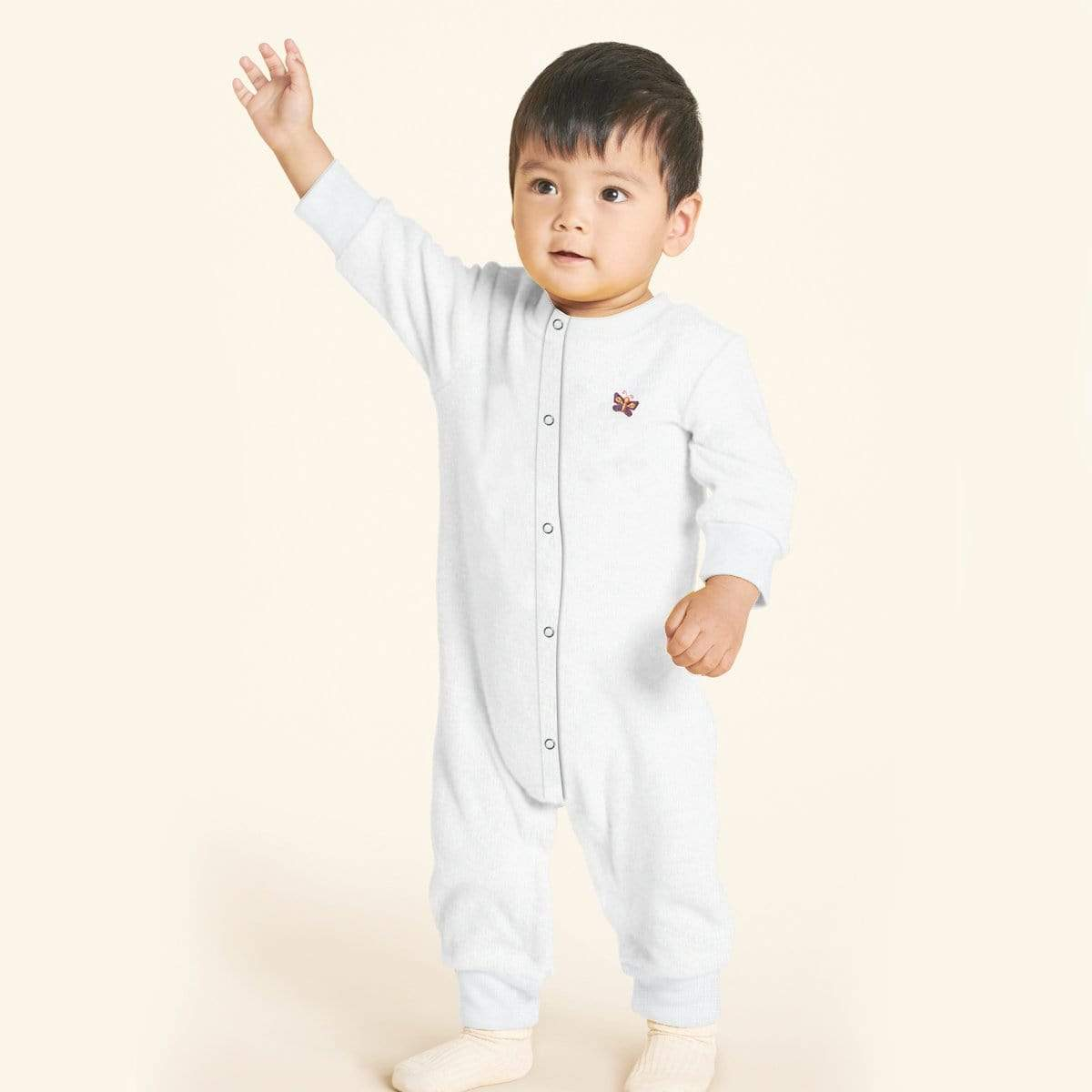 Stone Harbor Kid's Romper White / 0-3 Months Kid's Stone Harbor UNISEX Butterfly Fleece Romper