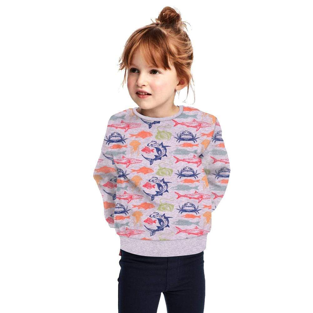 "Stone Harbor Kid's Sweatshirt 2-3 Years / GreyMarl Stone Harbor 'Sea Creature"" All over printed Crew Neck Sweatshirt"