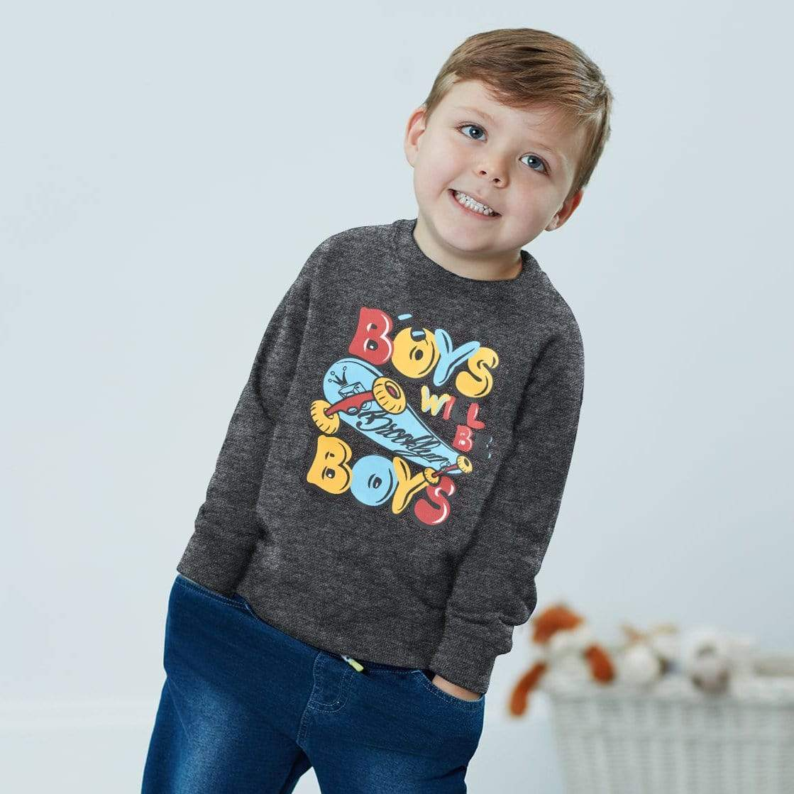 Stone Harbor Kid's Sweatshirt Charcoal / 2-3 Years Stone Harbor Boys Will Be Boys Crew Neck Sweat Shirt