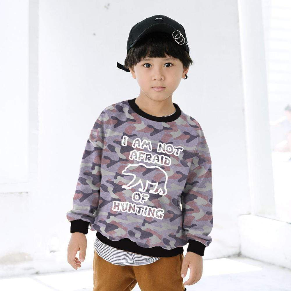 "Stone Harbor Kid's Sweatshirt Grey / 2-3 Years Stone Harbor ""Not Afraid"" Camo Ringer Sweatshirt"