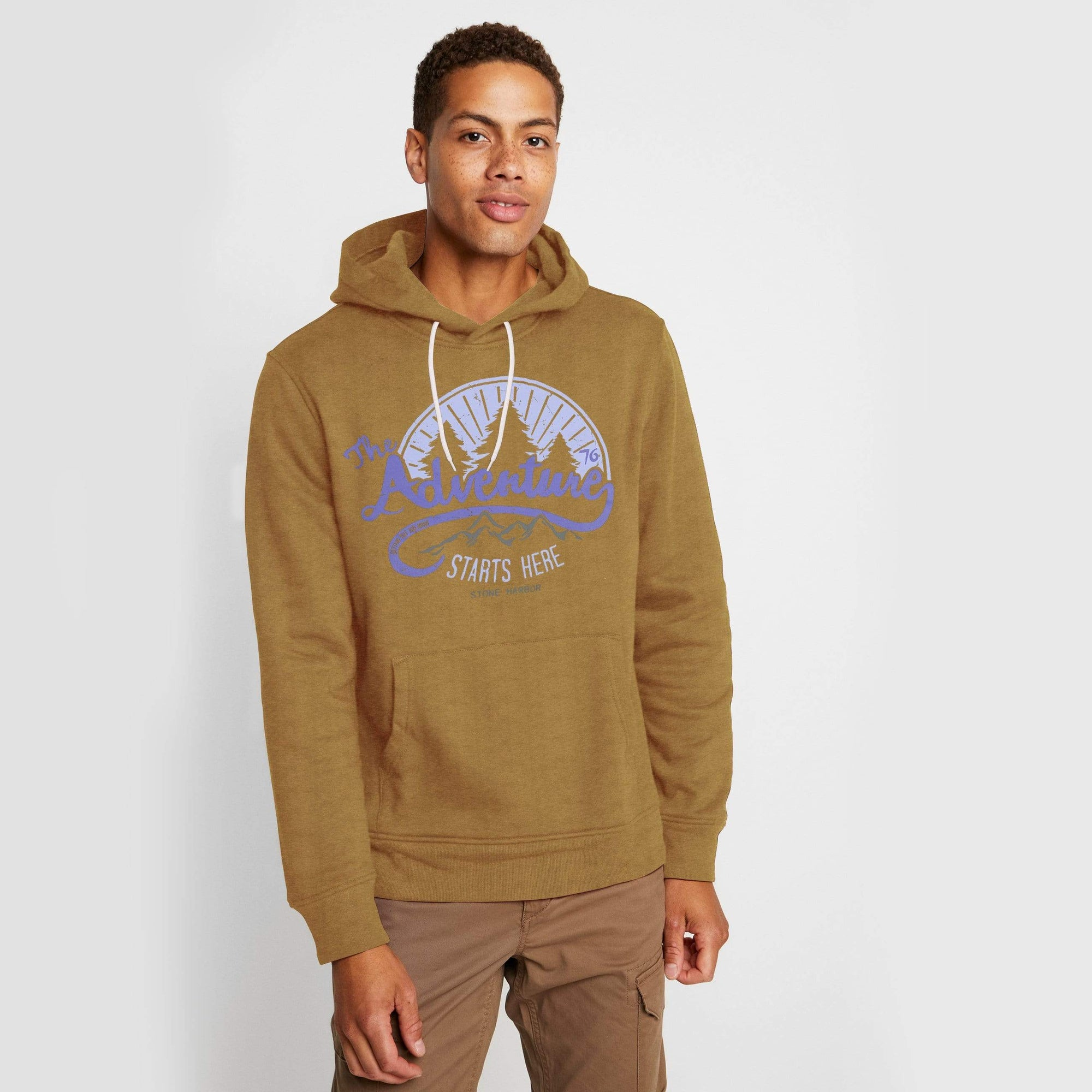 Stone Harbor Men's Hoodies Brown / S Men's Stone Harbor Adventure Starts Pullover Hoodie