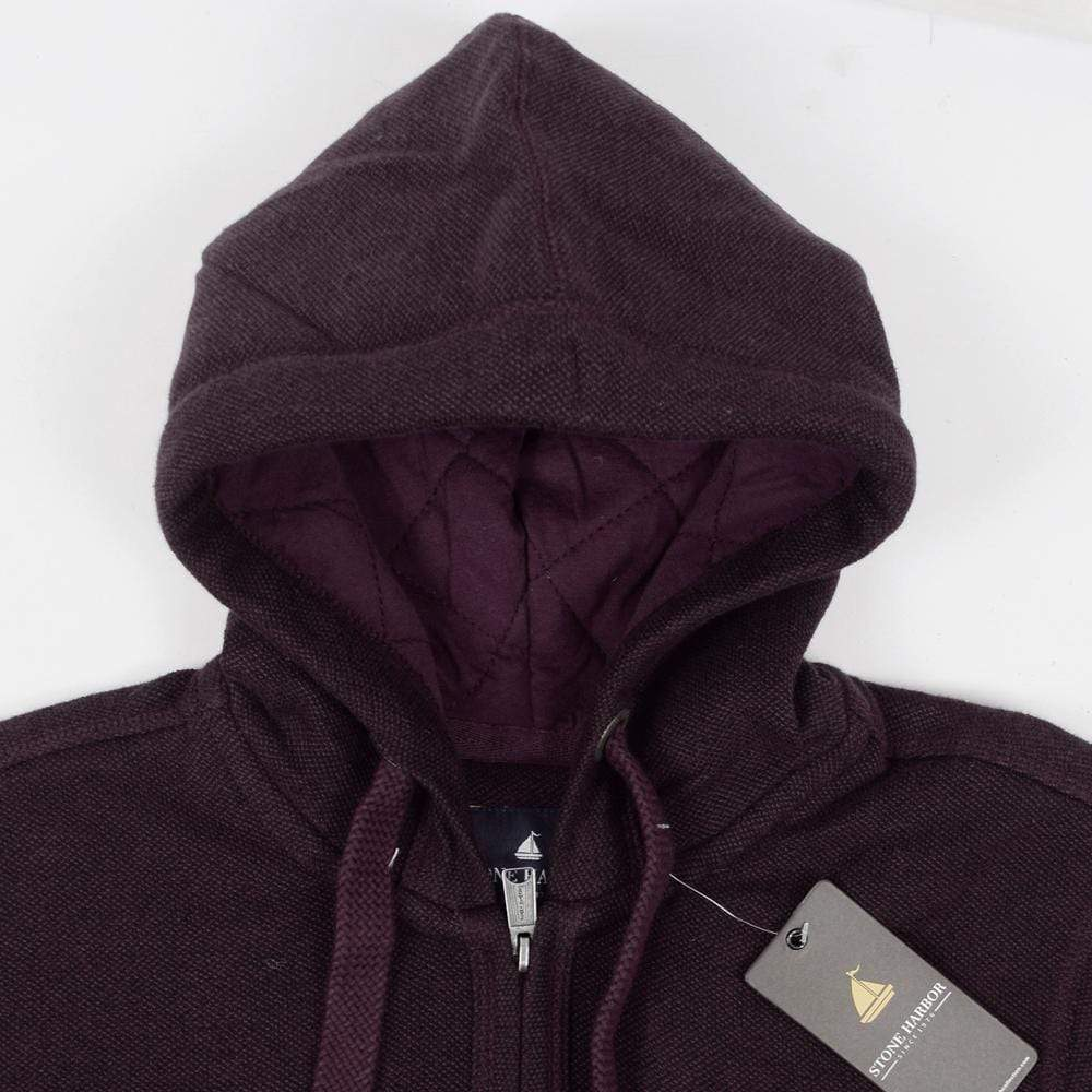 Stone Harbor Men's Hoodies Plum / S Men's Stone Harbor Quilted Zipper Hoodie