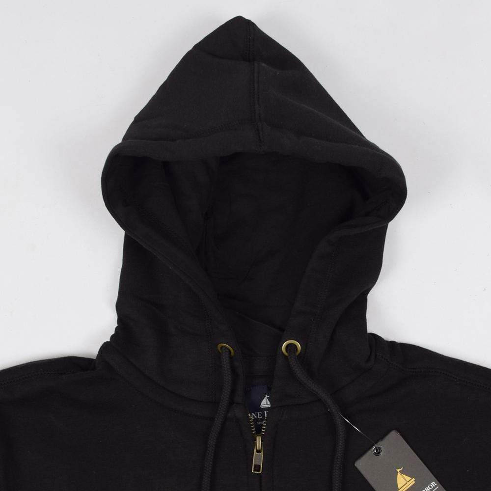 Stone Harbor Men's Hoodies Black / S Men's Stone Harbor Solid Black Zipper Hoodie