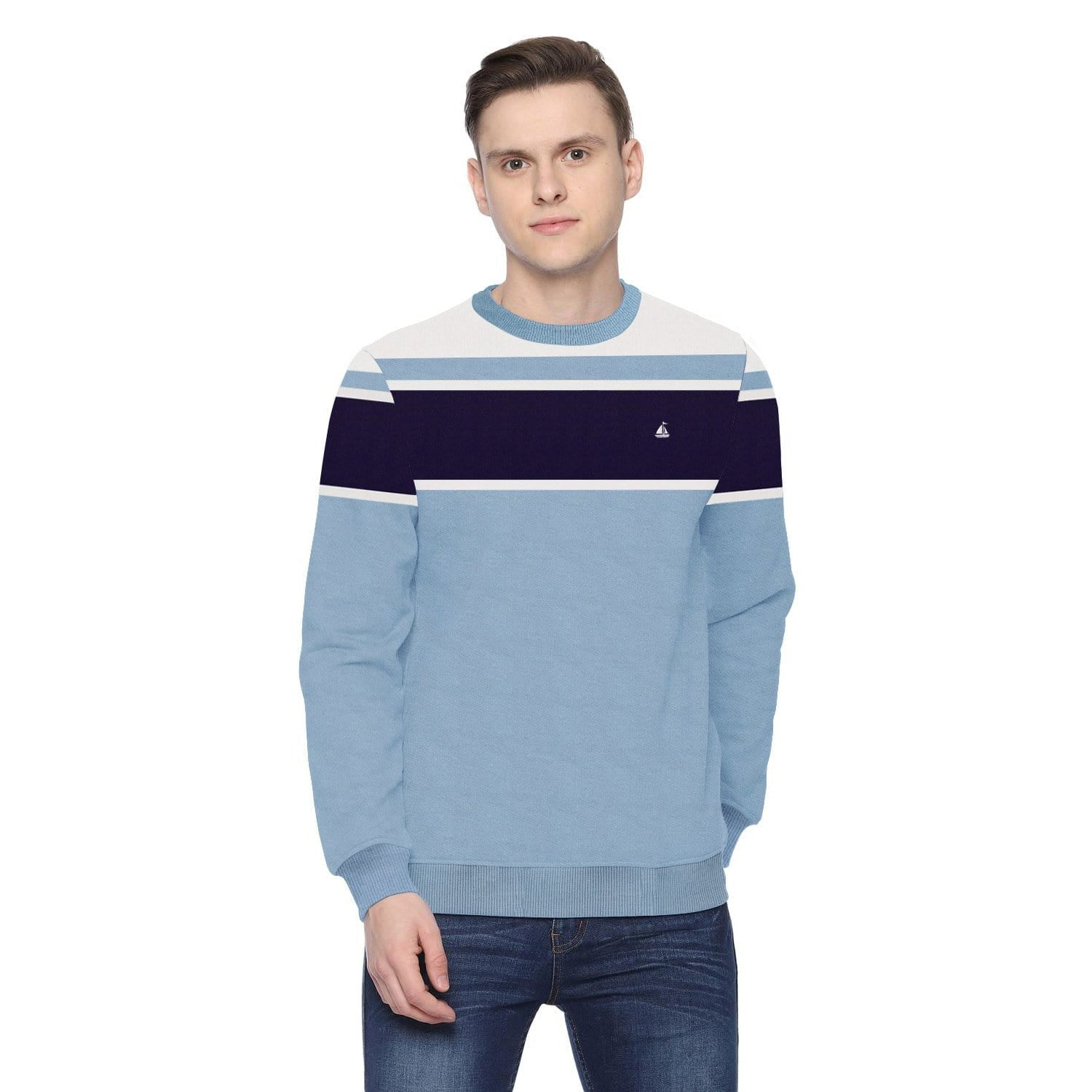 Stone Harbor Men's Sweatshirt Sky / S Men's STONE HARBOR SKY STRIPE SWEATSHIRT