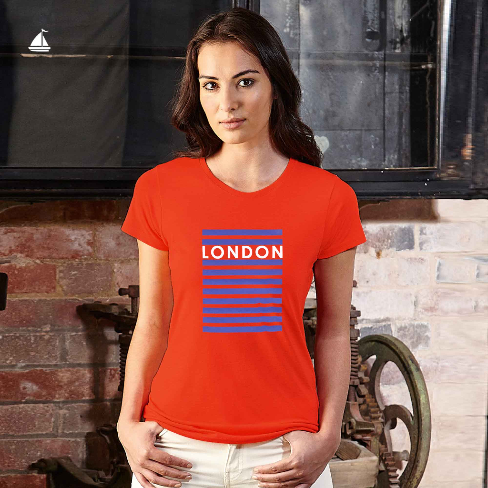 "Stone Harbor Women T Shirt Camila ""London"" Crew Neck Graphic Tee Shirt"