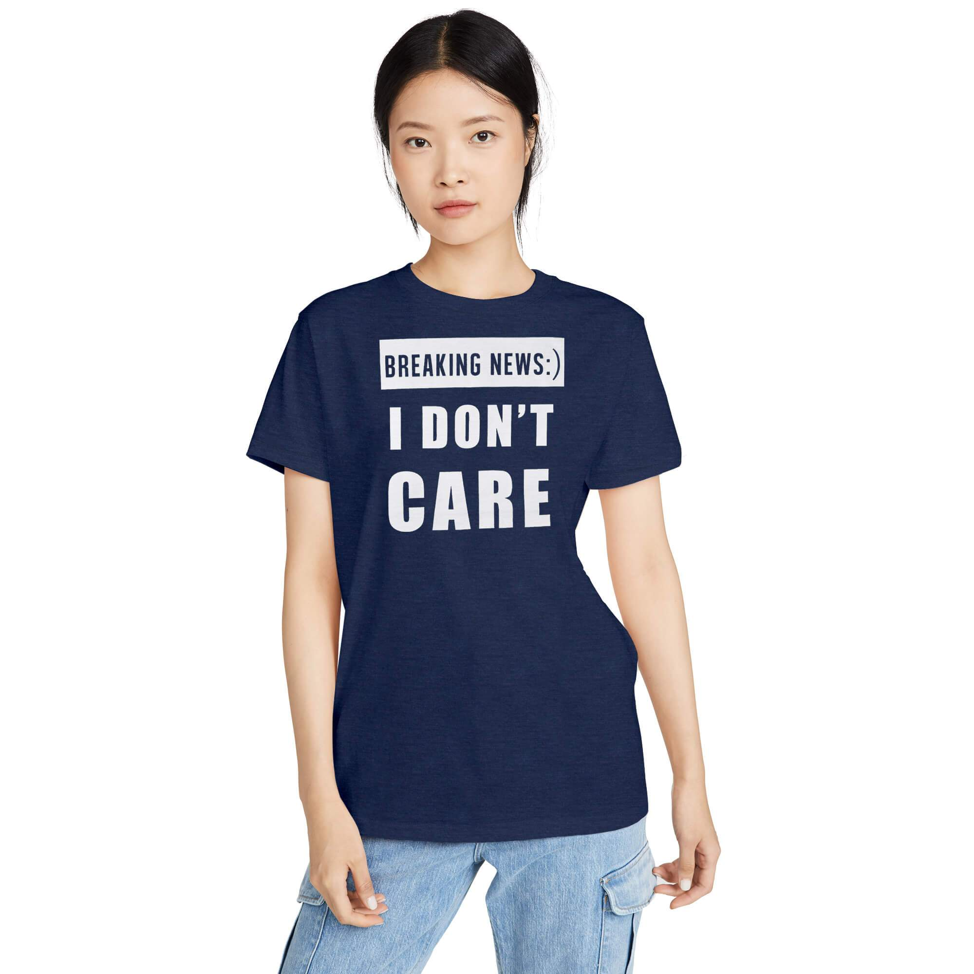 Stone Harbor Women T Shirt Navy / S-10 Women's Stone Harbor Don't Care Crew Neck Tee Shirt