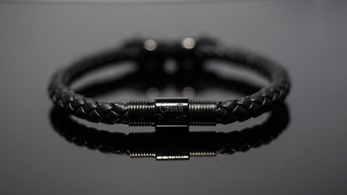 "Black Leather Bracelet ""Morpheus"""
