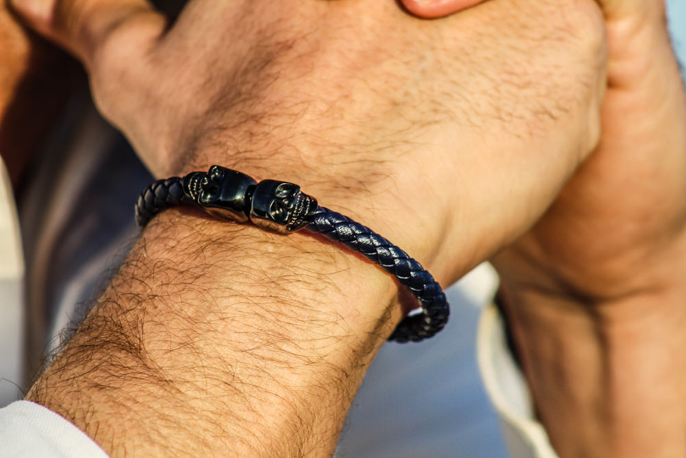 "Skull Bracelet for Men ""Poseidon"" - Gentsbracelets UK"