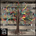Curly Tree Of Life With Birds Metal Wall Art 24 X / Airbrushed Various Trees & Leaves