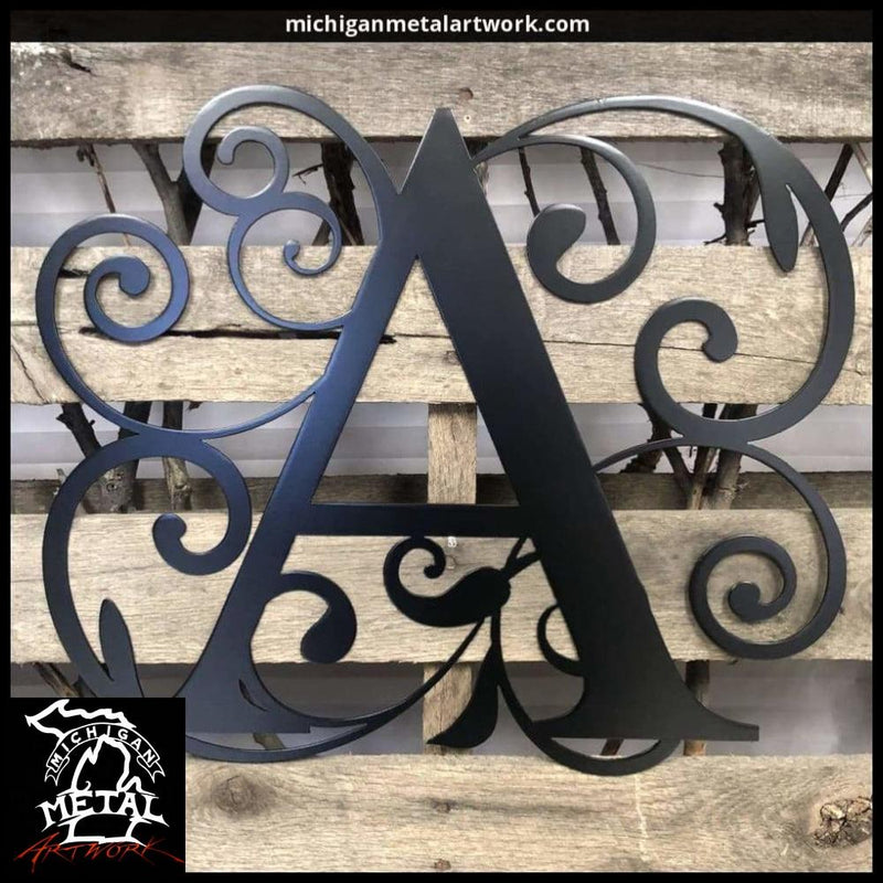 Decorative Letter Monogram Metal Wall Art 18 X 17 / Black (Most Popular) Monograms