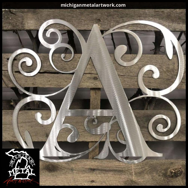 Decorative Letter Monogram Metal Wall Art 18 X 17 / Polished Monograms