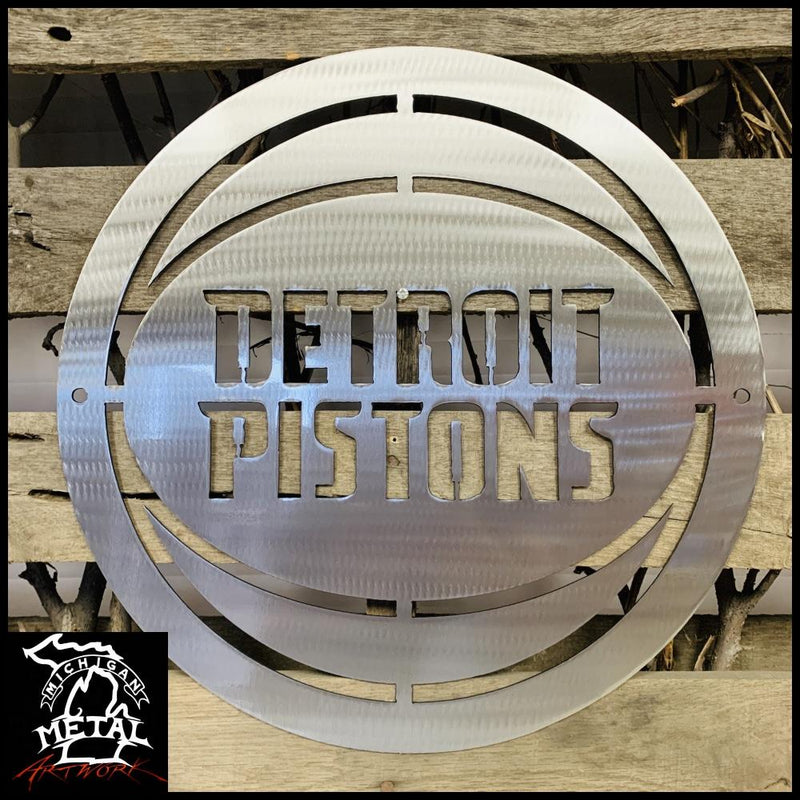 Detroit Pistons Logo Metal Wall Art 12 Round / Polished Sports