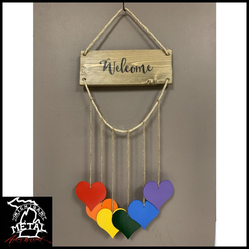 Hearts Of Harmony Hanging Decor Driftwood / Add Welcome Text Garden