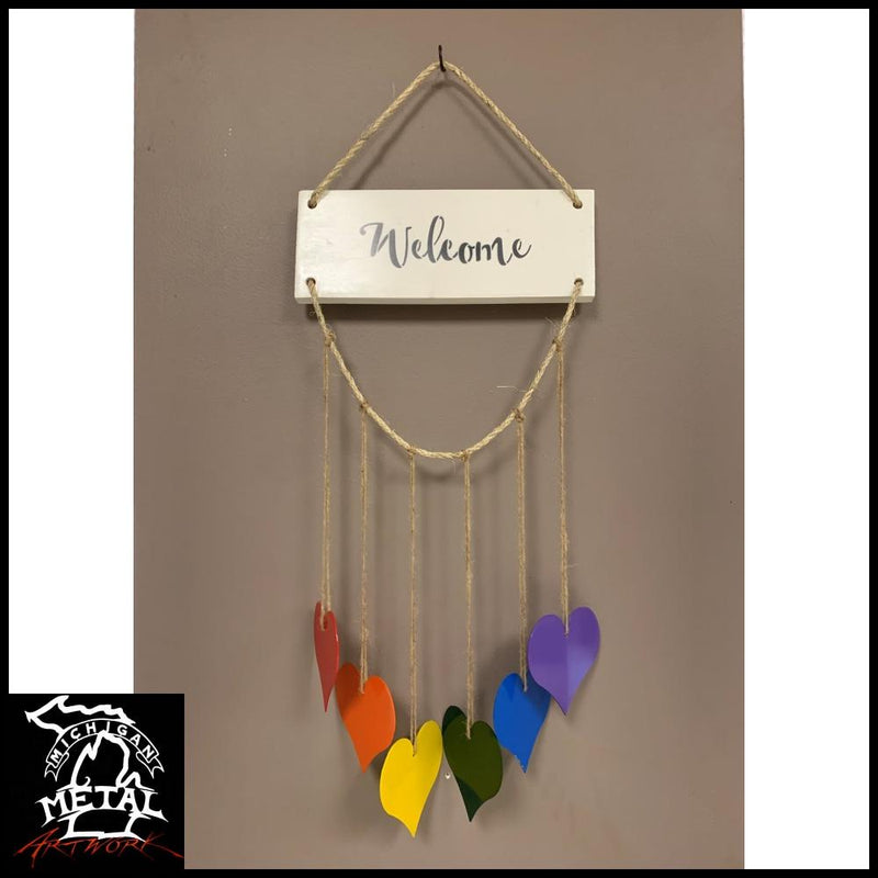 Hearts Of Harmony Hanging Decor Whitewood / Add Welcome Text Garden