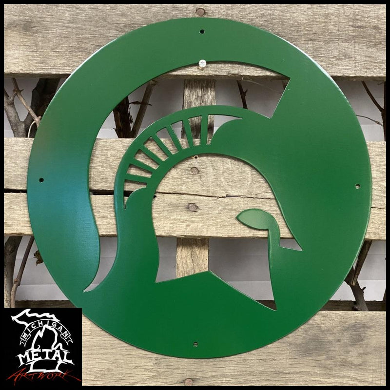 Msu Spartan Logo Metal Wall Art 12 Round / Green Sports