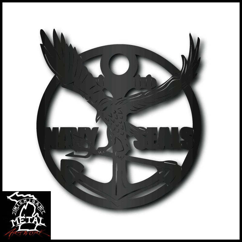 Navy Seals Metal Wall Art Matte Black Military