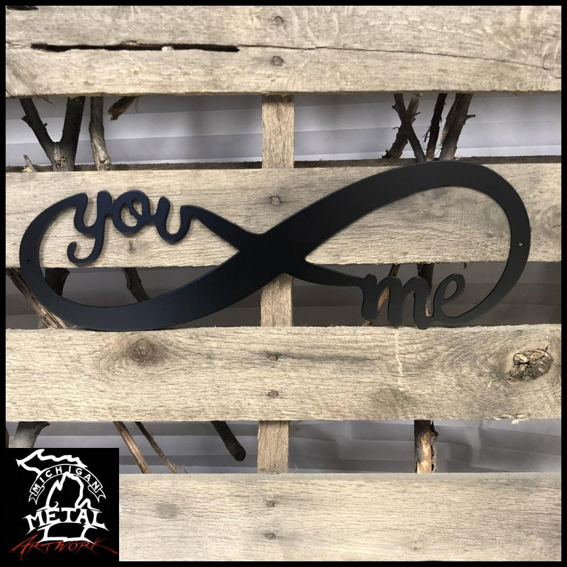 You & Me Infinity Band Metal Wall Art 12 X 4 / Matte Black Novelty