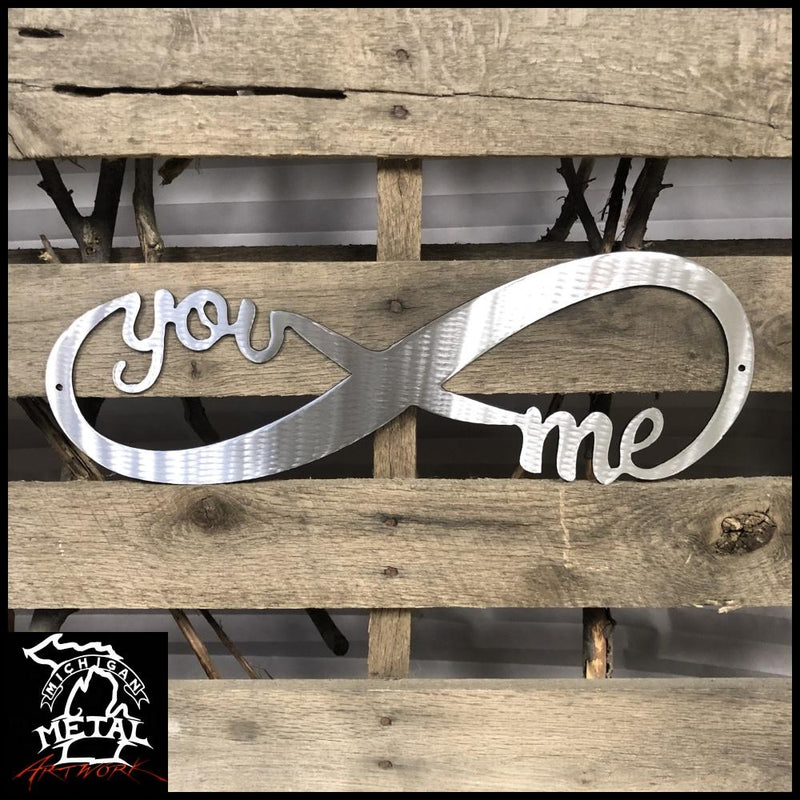 You & Me Infinity Band Metal Wall Art 12 X 4 / Polished Novelty