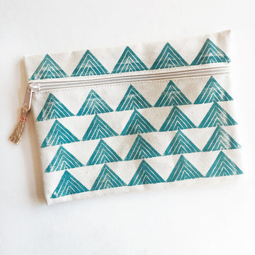 Tiny Arrows Zip Pouch, Turquoise