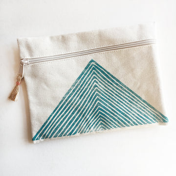 Arrow Zip Pouch, Turquoise