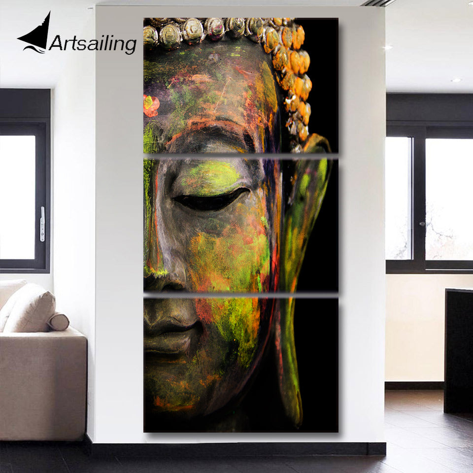 HappyHouseArt 3 Panel Golden Abstract Budda Canvas Wall Art//Budda Canvas Wall Print//Budda Wall Picture for Home Decoration Framed Ready to Hang