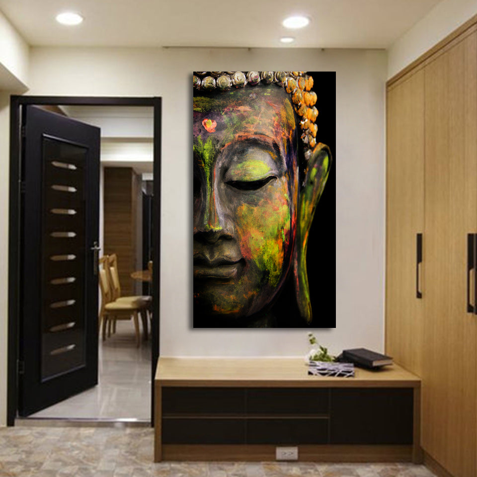 1 Piece HD Printed Buddha Head Canvas Painting Wall Picture For Living Room Home Decor Free Shipping CU 1656