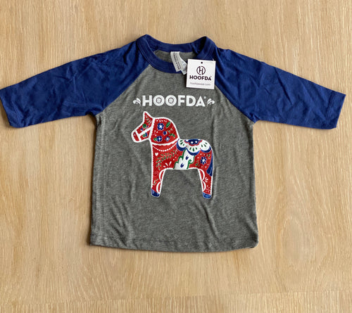 HOOFDA®  Swedish Artsy Dala 3/4 Sleeve Baseball Toddler Tee