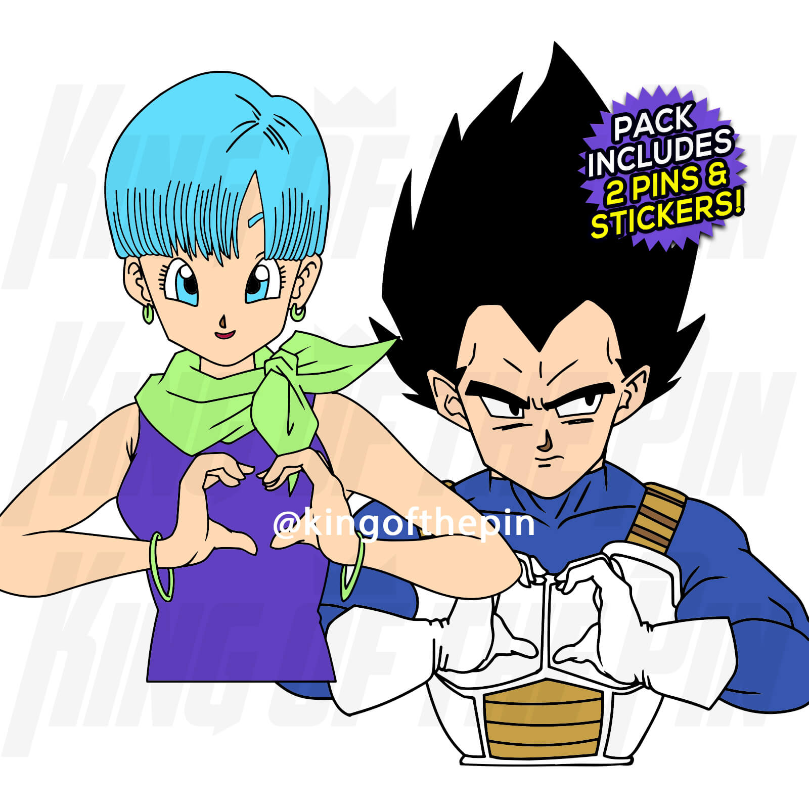 Bulma & Vegeta - Do You Love Me? (2 Pin) Pin Pack [Includes 2 FREE Stickers]