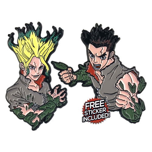 Dr Stone Enamel Pin Pack (includes FREE Sticker)