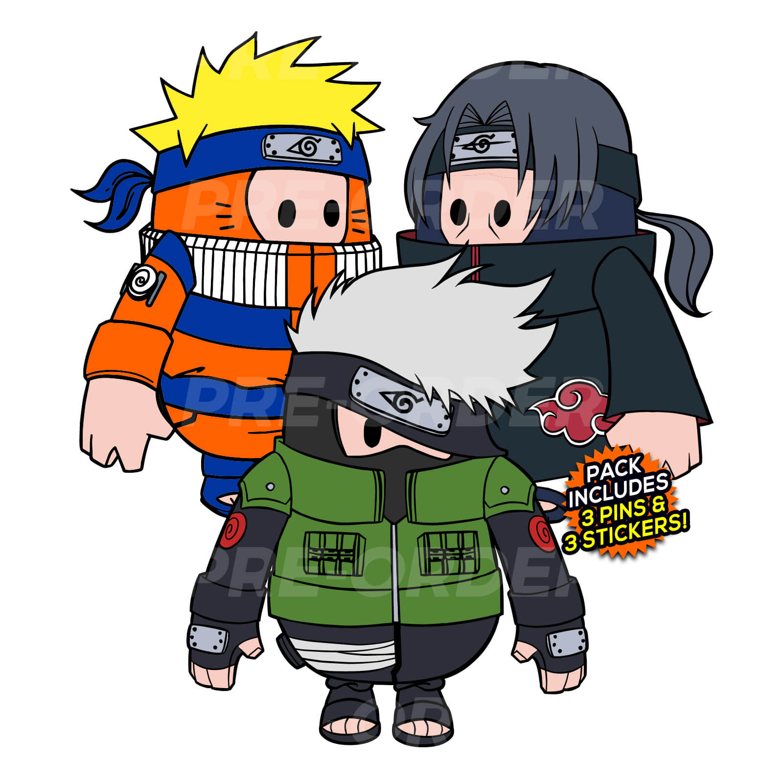 Naruto Fall Guys (3 Pin) Pin Pack (PREORDER)