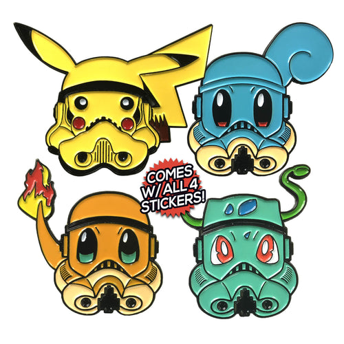Poketrooper (4 Pin) [non-glitter] Enamel Pin Pack (includes 4 Free Stickers)