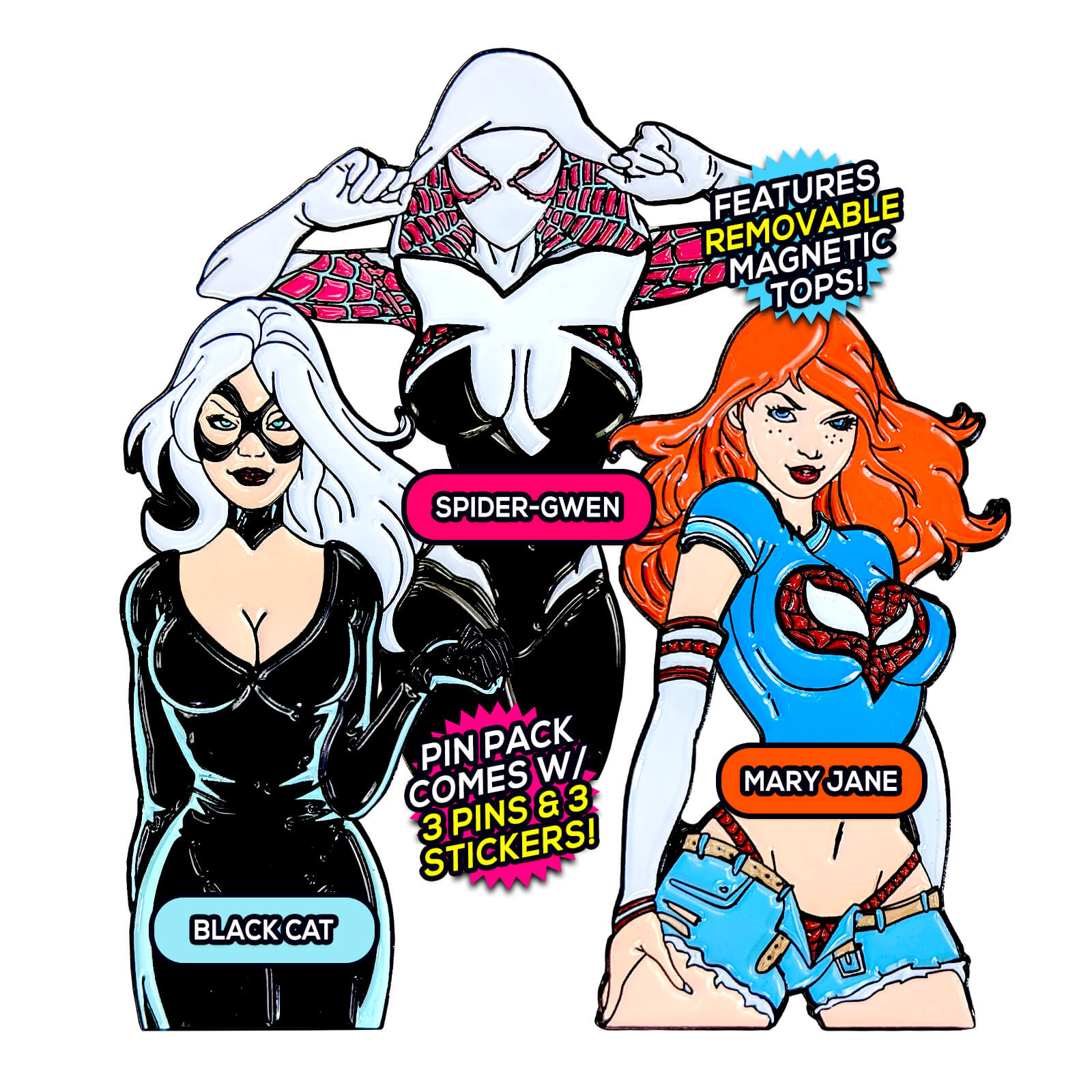 Spider Girls After Hours (3 Pin) Pin Pack [Includes 3 FREE Stickers]