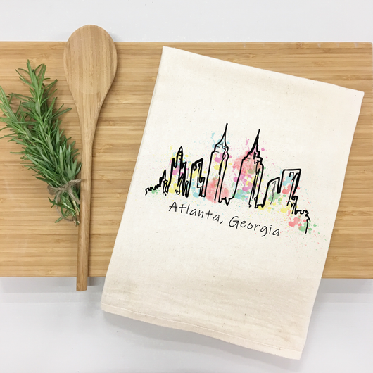 Atlanta Skyline watercolor - tea towel