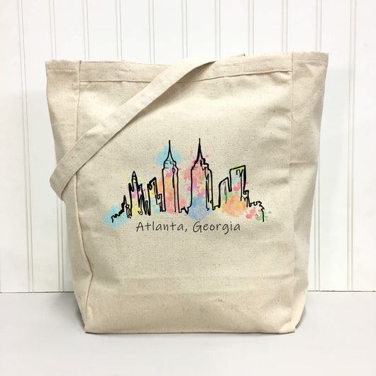 Atlanta Skyline watercolor - tote bag