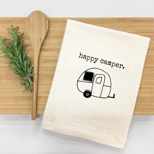 Happy Camper - tea towel