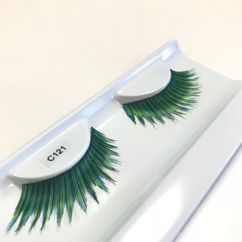 Green false lashes