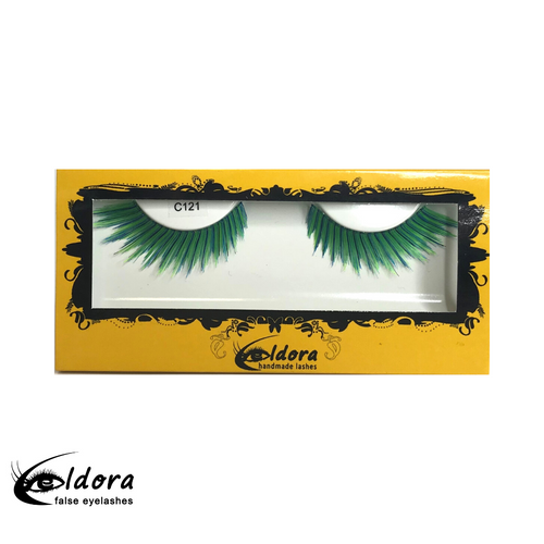 C121 Green Coloured False Lashes