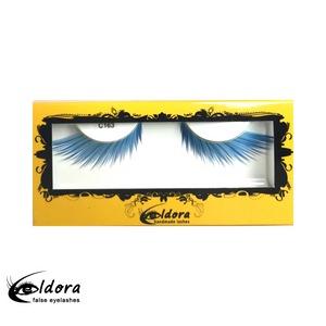 C163 Blue Coloured False Lashes
