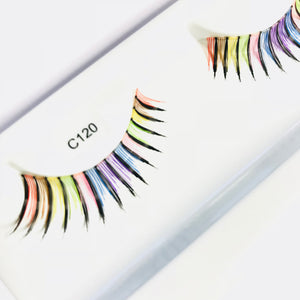 Rainbow false lashes