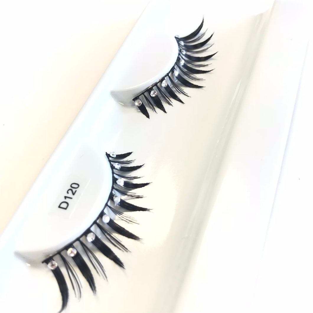 Wispy diamante fake lashes