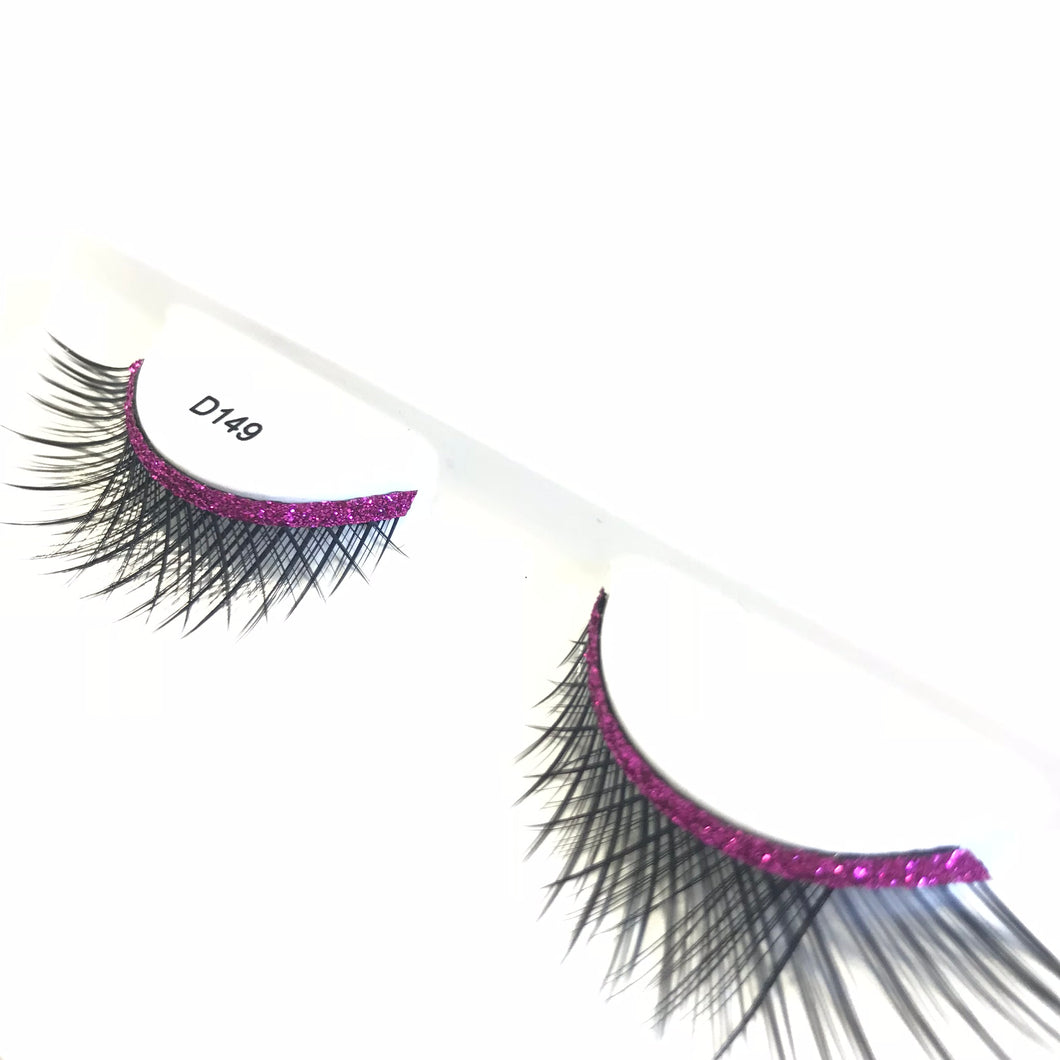 Pink Glitter False Lashes