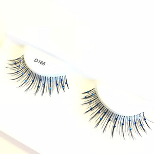 Blue glitter false lashes